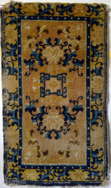 Petite Ningxia 3-Medallion Mat, 23 x 39 inches. Probably mid-19th century or earlier.