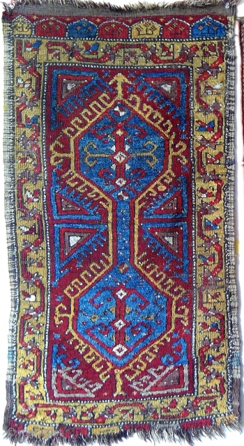 Antique Central Anatolian yastik with saturated colors and good pile. Probably Konya region, late 19th/early 20th century