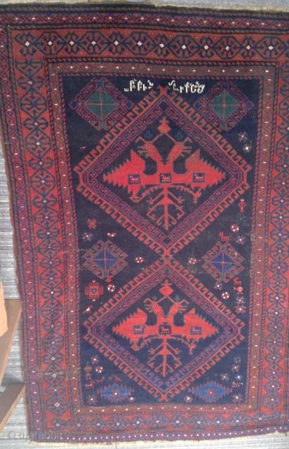Interesting TransCaucasus carpet with Armenian inscription