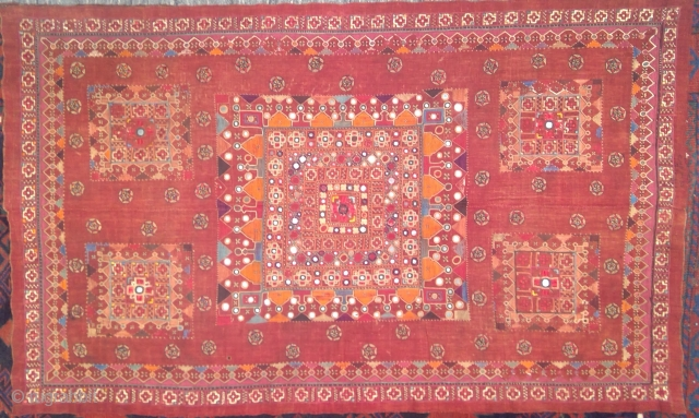 Antique India textile, very fine, and old. 38 x 62.5 inches. Minor signs of wear and one tiny hole.