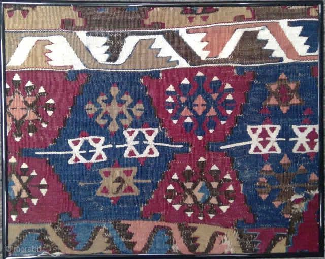 Antique South East Anatolian kilim fragment, 20 x 16 inches (50 x 41 cm)in metal frame sans glass
