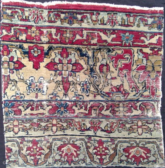 Very fine, very old Persian carpet fragment, 22 x 21 inches. Wool on cotton and silk foundation. 18th century or earlier. Smaller fragment of same carpet, from Ferenc Batari collection, in Iparmuveszeti  ...
