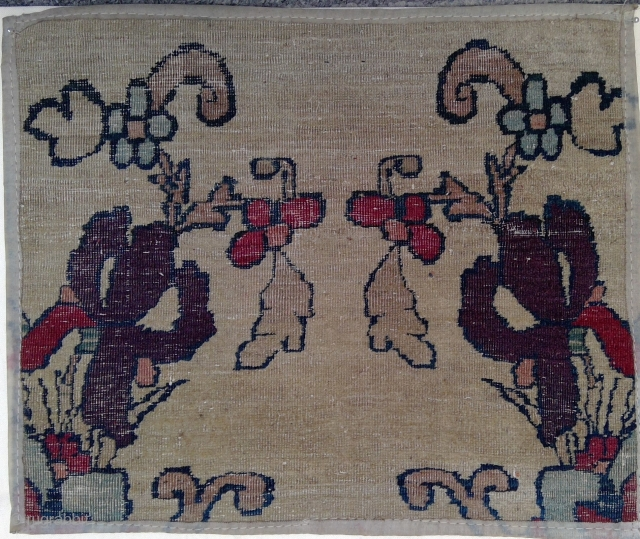 Fragment No.2 from same very fine very old Persian Carpet, 16 x 14 inches