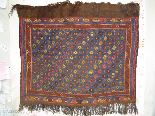 Outstanding antique Anatolian nomad jijim sofra or dining cloth, 127 x 109 cm.  Deep saturated colors of wool weft-float brocading on dark brown goat hair balanced plainweave, (possibly mixed with camel  ...