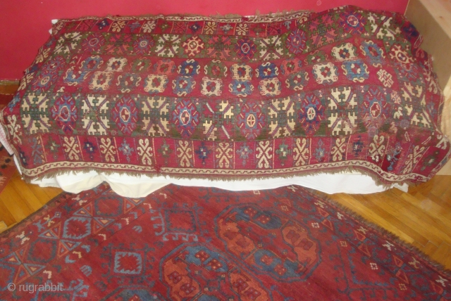 Very old Rabat or Casablanca carpet fragment with great colors