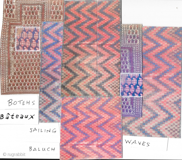 Baluch Botehs Bateaux. Photomontage,inscribed, 8.5 x 11 inches. Images show Baluch prayer and ZigZag rugs, and a Shiraz boteh fragment
