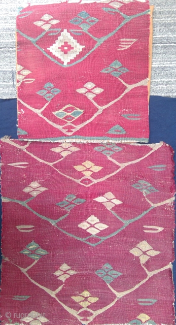 Two Antique Balkan Pirot Sharkoi kilim fragments. 23 24 and 17 x 18 inches.