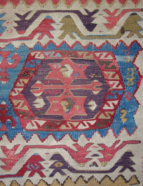 Detail, antique Anatolian small kelim with 8 hexagon guls, Cumra region