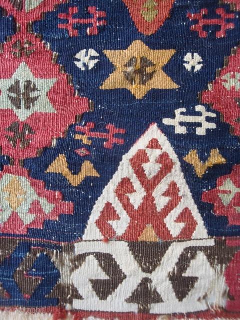Detail, antique Central Anatolian kelim of petite dimensions