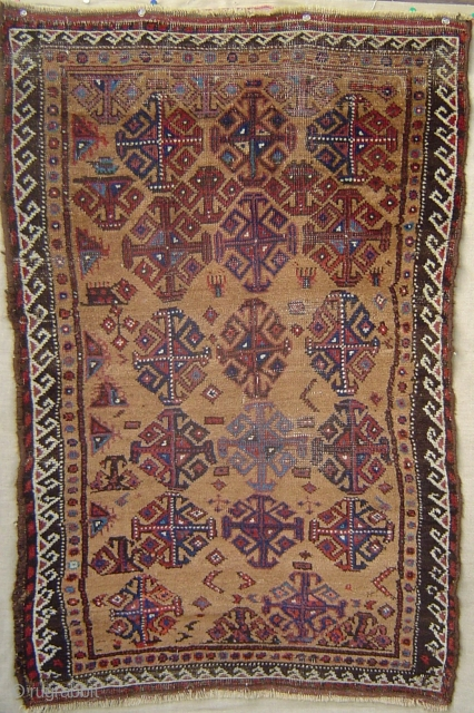 Antique Baluch with 17 Hooked Diamond Guls on Camel Hair field