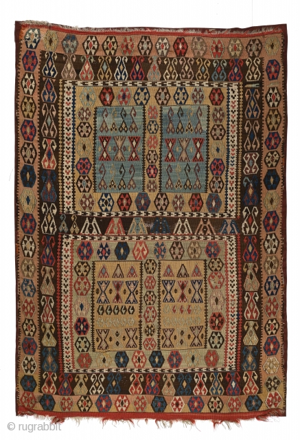 Antique Anatolian small kilim with 4 rectangular compartments arranged as in a Turkmen ensi. 130 x 188 cm (51 x 74 inches). Mounted on corduroy backing. -- please view my other posts.  ...