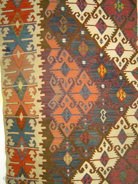 Anatolian Elibelinde long kilim strip with superb saturated colors. 19th century.Probably Aksaray region.