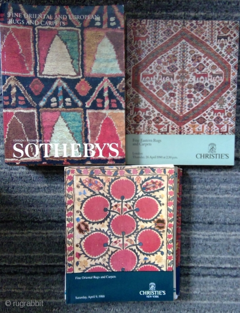 30 Rug Catalogs for sale: 11 Sotheby's London. 5 Christie's London, 14 Christie's NY.