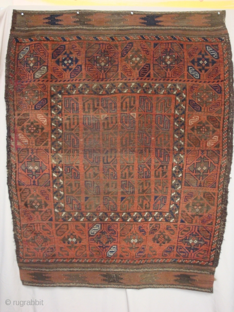 Rare Baluch rug in an ensi-like format, 46 x 58 inches. -- For more images please view my posts.