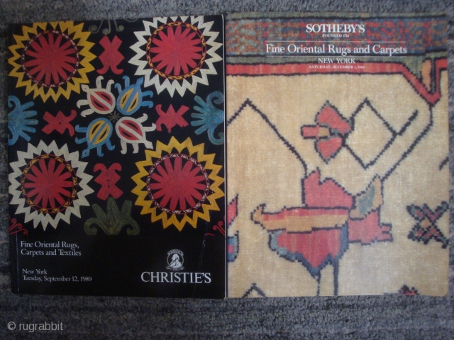 14 Christies (London and NY) and 61 Sotheby's (NY and London) Rug Auction catalogs. --For details, please inquire.