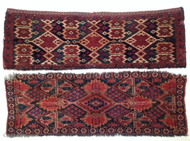 Two Antique Central Asian Amu Darya Region wool-knotted panels.  The one with ikat design has part-cotton wefting. -- For more images, please see my posts http://rugrabbit.com/profile/511