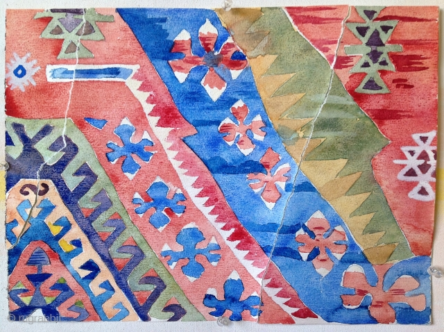 First Anatolian kilim. Watercolor, Arches paper, dechirage, ca. 16 x 12 inches