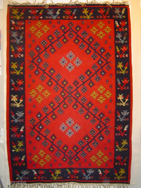Pirot kilim in great condition, 146 x 211 cm. A contemporary of Matisse's Red Room.