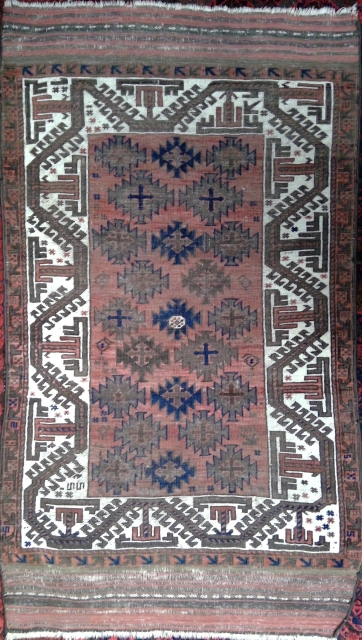 Handsome Baluch small rug with 23 Ashiks. 36 x 61 inches (90 x 157 cm) Good / fair condition, even low pile, corrosion of browns, original end kilim secured, sides re-wrapped. A  ...