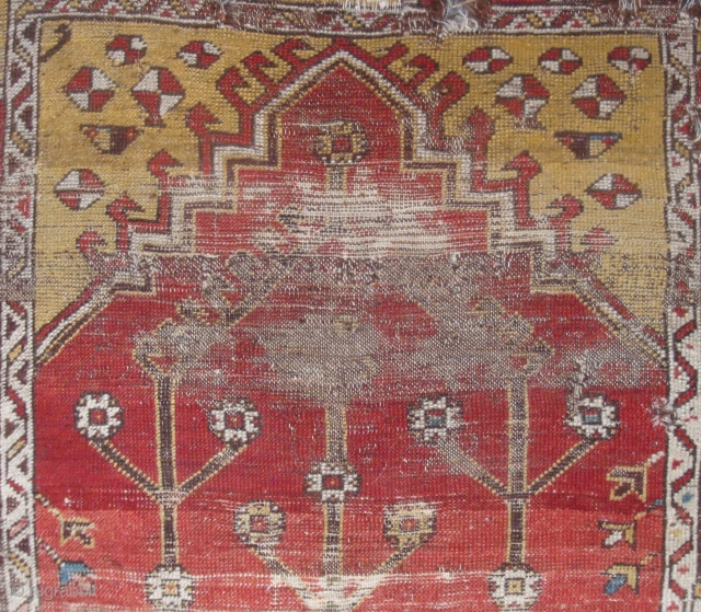 Anatolian, 3 Trees on Red, wool knotted pile prayer rug fragment, mid-19th century or earlier