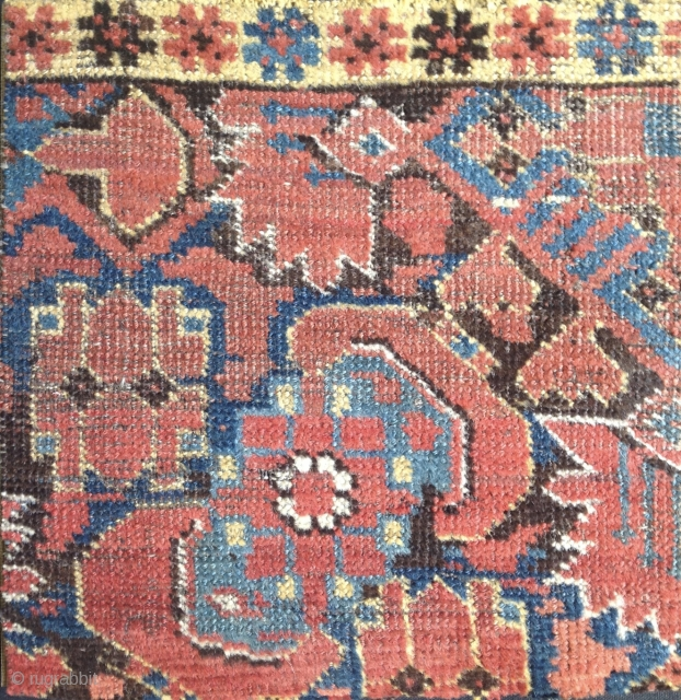 Beshir carpet fragment, Herati pattern and yellow inner border stripe. 12 x 12 inches.  Resplendent colors. Acquired from  T. Weisbuch