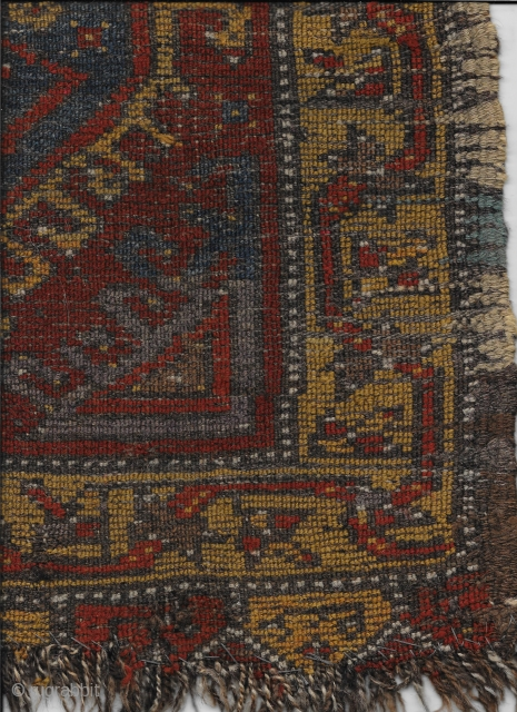 Konya area yastik, circa 1900. Original elaborate side finish; original brown kilim at top, lower end border incomplete. One small hole reinforced by backing; overall good pile with small work areas. A  ...