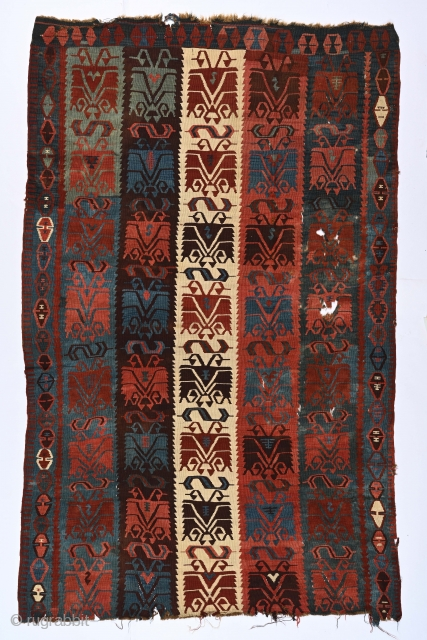 """Antique East Anatolian monumental Carnation kilim fragment, 5'3"""" x 8'5"""". Compares favorably with the similar but narrower example, Lot 12 in Skinner's October 27 sale."""
