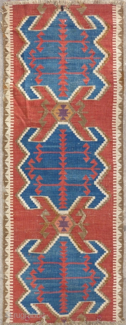 Antique Anatolian Obruk kilim fragment, 25 x 67 inches. Clear classic colors.