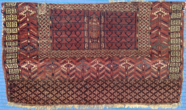 Turkmen ensi fragment, finely woven with silk highlights