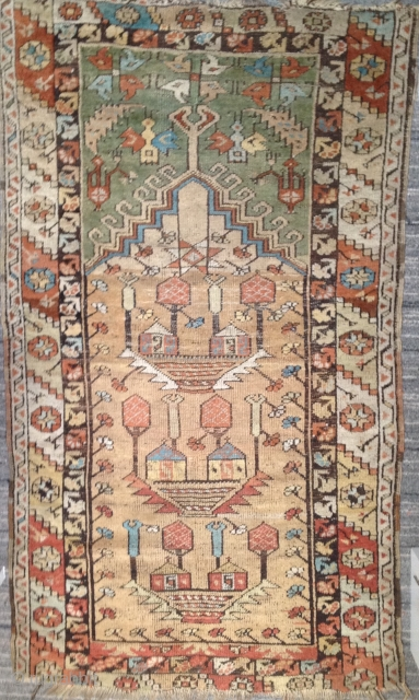 Cypresses and turbes, wool and camel hair, 19th century Central Anatolia. O Seasons, O Chateaux, Quel ame est sans Defauts