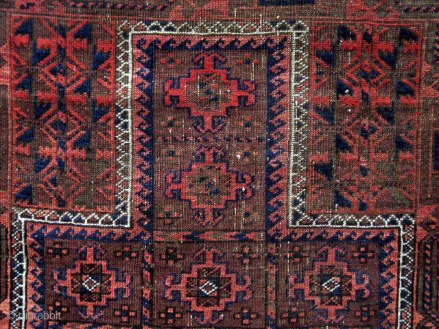 """Belouch Prayer rug from the turn of the 19th century with a compartmentalized cruciform design. (2'10"""" x 4'2"""")"""