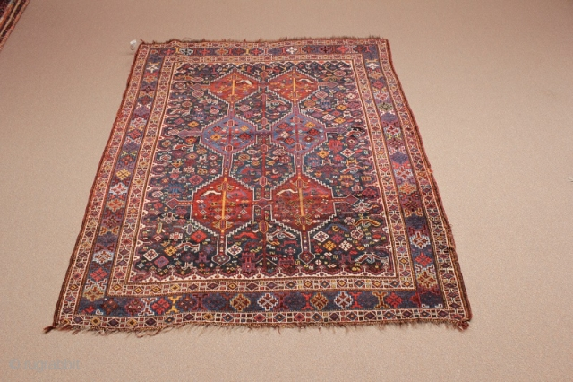 """Khamseh with birds from the last quarter of the 19th century with natural dyes. Condition - minor pile wear, ends and sides frayed. (Dimensions: 5' X 6'3"""") #4182"""