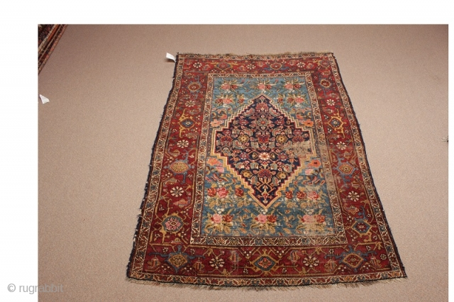 """Persian rug with Kurdish characteristics and Bidjar format from the 4th quarter of the 19th century. Unusual and attractive combination of design and colors. Condition - wear in middle. (Dimensions: 4'5"""" X 6') #5315"""