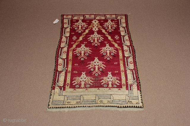 """Central Anatolian Prayer Rug circa 1920. Minor wear and synthetic dyes.  (Dimensions: 3' X 4'6"""") #790"""