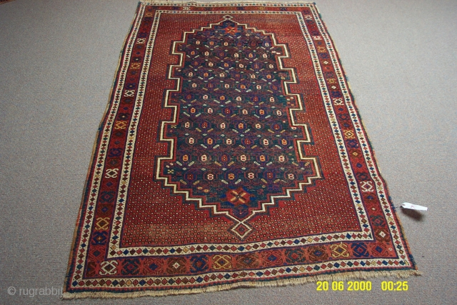 "Persian Afshar measuring 3'4""x5'6"", it has some traffice wear, circa 1890"