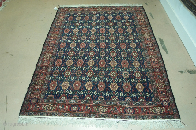 """#5251 Senneh rug, the size is 4'6"""" X 6'2"""", circa 1890. It is in Mina Kane pattern, in good condition-hand sewn fringe added on both end."""