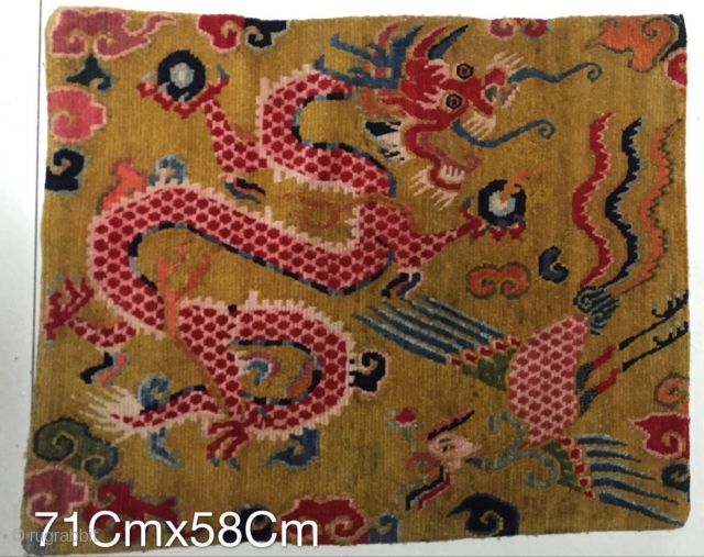 Tibetan rug, with exquisite design and exquisite workmanship, about 1900 years or so, size 71Cmx58cm, welcome to consult
