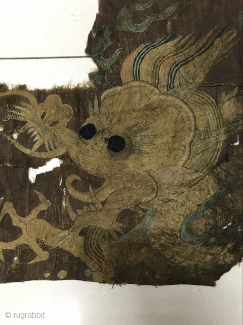 Ming dynasty embroidery, about 1550 years left, dimension 70cmx43cm. The floor is very unusual, welcome to consult!