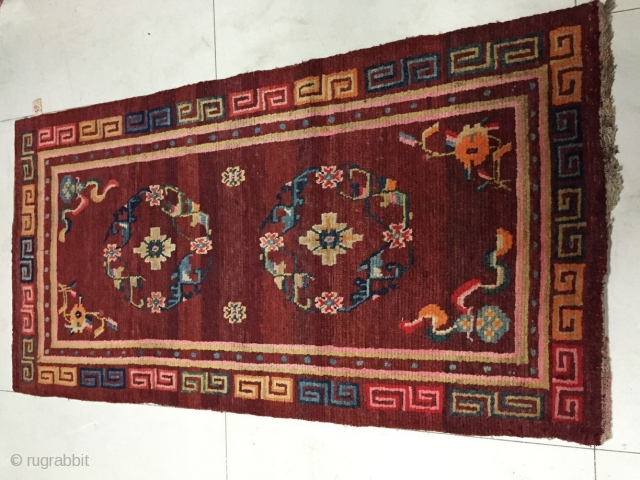 Around 1900, Tibetan carpets, s size 155 cmx80, all warp weft wool