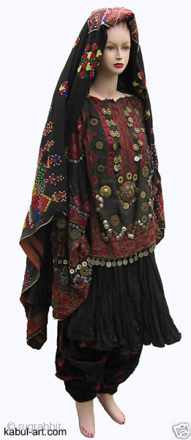 antique Afghanistan nuristan Woman embroidered weding Dress jumlo