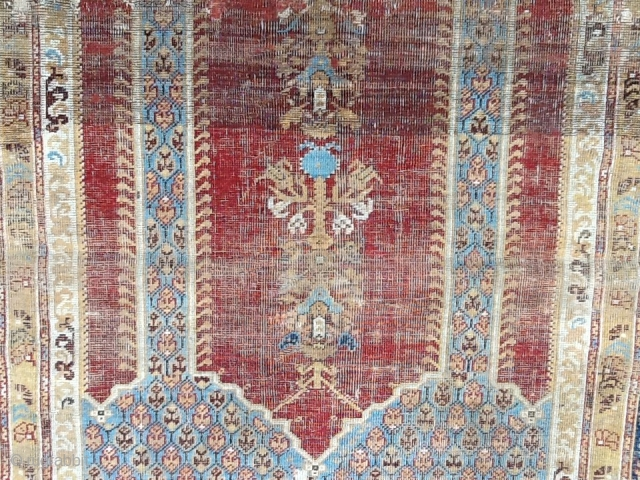 Very old Kula Prayer Rug first quarter 19.century or earlier.  s line woven  conditıon C 