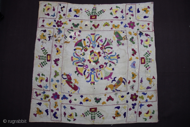 Chamba Rumaal.  A Rumaal hand-embroidered in the typical style of Chamba, Himchal Pradesh, India   This Rumaal depictis Krishna in a Raas-Leela with Gopis along with four horses and floral patterns all over.  This embroidery  ...