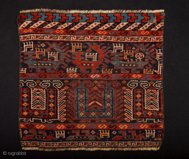 Wonderful 19th century Khamseh confederacy  Tribal art Fragment  53 x 50 centimeters.
