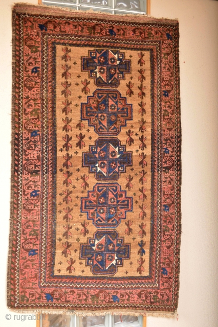 Circa 1900's Gulbenkian Baluch.. Camelground wool all natural colors