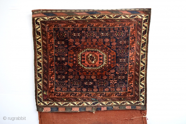 Super fine knoted Antique Baluch Halfbag with velvety wool Full Pile, Natural colors old mothbites few small old repairs Many silk Highlights