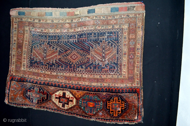 Fresh comming Large Storage Bag Luri Bakthiyar circa 1920's. Very Decorative. on the top sumak area strong sun exposure has faded the colors nicely.Dirty need a wash. Size 120 x 91 centimeters  ...
