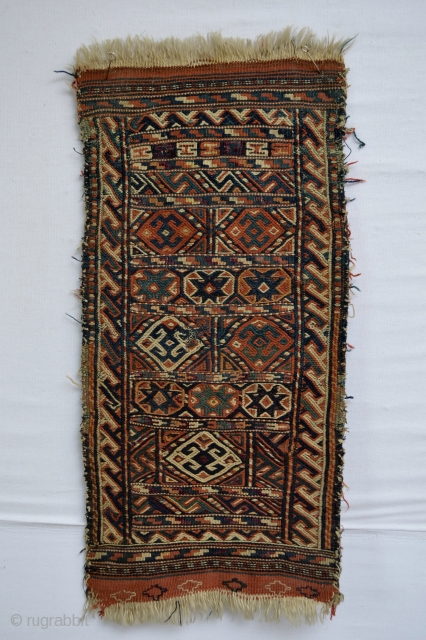 Beautiful Antique Kordi Soumak Sumak with all natural colors with spots of Silk Highlights size 66 x 33 centimeters