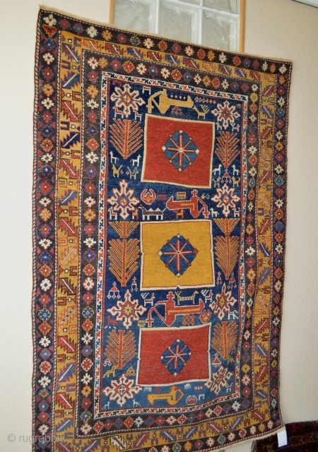Beautiful and Rare Type Karagashli Caucasian. Circa 1850's. Rare yelow center. Evenly Low pile. some small repailed areas.Ready to hang on your wall at home or office to make your day happy  ...