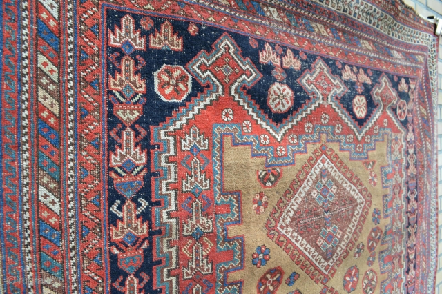 Nice Camel Ground Antique Afshar as found