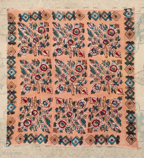 "Turkısh Anatolian Block Printed Bokhca. Size:92x86 cm / 3""x2'10"""